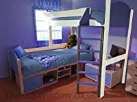 Stompa Casa 11 L Shaped Bunk Bed - Antique with Blue finish