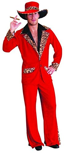 Xxl Pimp Kostüm - Foxxeo Pimp Daddy Zuhälter Kostüm rot Größe XXL
