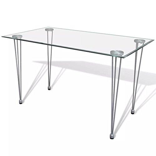 vidaXL Table Transparente avec Plateau Verre trempé pour Salle à Manger Cuisine