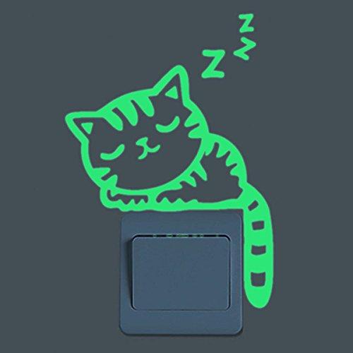 Inovey Dormir Chat Creative Lumineux Interrupteur Autocollant Amovible Glow Dans Le Sombre Décalque De Mur Déco