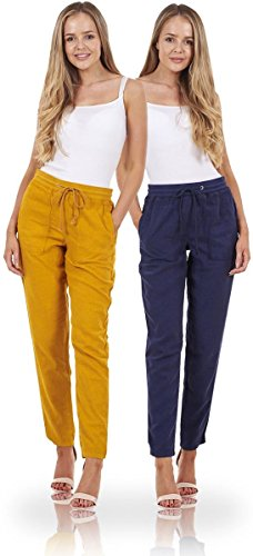 Ex Famous Store Ladies Peg Linen Trousers Holiday Tapered Pants Summer Casual Pants