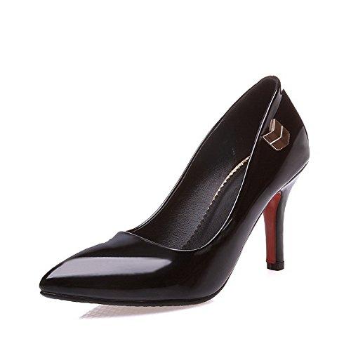 AllhqFashion Damen Eingelegt Lackleder Hoher Absatz Spitz Zehe Pumps Schuhe, Schwarz, 41