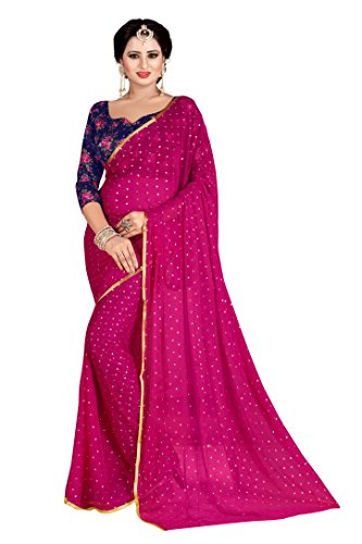 Febo Fashion Women's Nazneen Pink Colour Plain Sari