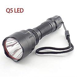 RUOXI Lampe de poche L2 T6 Q5 Led Lampe De Poche Haute Puissance Tactique Linterna Torche Flash Lampes Lumineux Pour Chasse Camping Pêche 18650 BatterieQ5 Paquet A