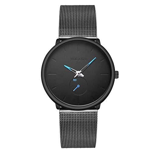 UINGKID Collection Unisex-Armbanduhr Herren Uhren Ultra Dünne YOLAKO Herren-Edelstahlgürteluhr mit einfachem Spiegel Quarzuhr