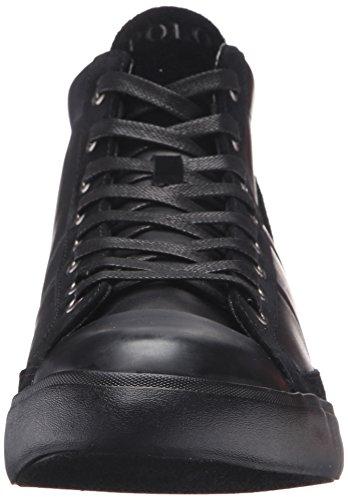 Ralph Lauren Mens Clarke Smithoil Sportside Leather Trainers Noir