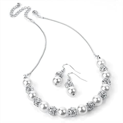 Silver and White Pearl colour Crystal Necklace and Earring Set Costume Fashion