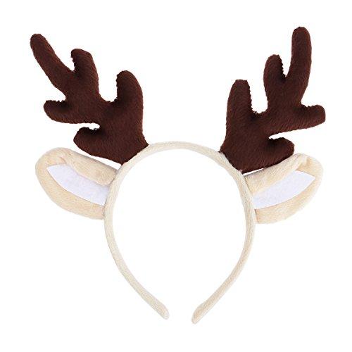 LUOEM Rentier Geweih Stirnband Weihnachten Stirnband Rentier Geweih Haarband Kinder Stirnband Headwear für Weihnachten Kostüm Party (Braun)