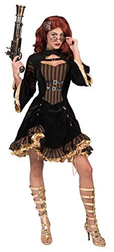 Karneval-Klamotten Steampunk Damen-Kostüm Steampunk Kleid Viktorianisches Kleid Gothic Vintage Kostüm braun schwarz Gold Größe (Viktorianisches Steampunk Kleid)