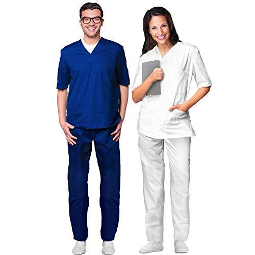 Aiesi® divisa ospedaliera unisex uomo donna in cotone 100% sanforizzato pantaloni e casacca scollo a v # sanitaria per medico infermiere oss estetista # made in italy # taglia s bianco