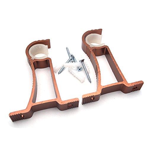 e Doppel Gardinenstange Klammern mit verstellbarem für Doppel Gardinenstange Halterung, Kupfer Farbe ()