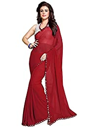 Nena Fashion Saree With Blouse Piece Lace Work Georgette Mirror Border With Blouse Piece Saree (RED)