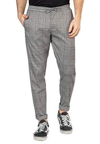 Sublevel Herren Karo Hose mit Aufschlag & geradem Schnitt Grey 32