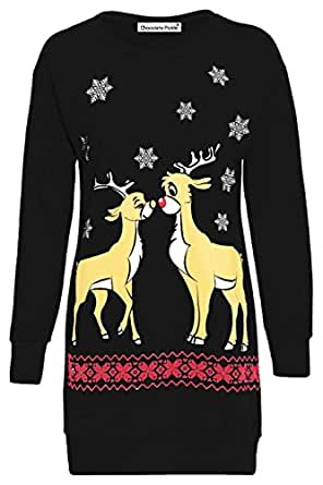 Xclusive Plus Frauen Christmas Reindeer Printed lange Sleeve weihnachten Sweatshirt Pullover Kleid 36-50 Pullover & Strickjacken