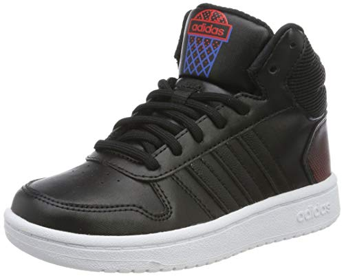 adidas Unisex-Kinder Hoops 2.0 Mid Hohe Sneaker, Schwarz (Core Black/Active Red 0), 33 EU