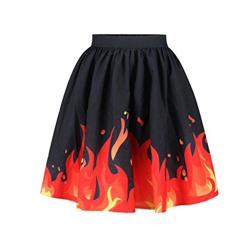 YYHSO Damen Neues Design Flammen Digital Gedruckt Hoher Taillenrock Vier Jahreszeiten Lässige Partei Elegant Plissee Midi-Rock , picture color , l/xl