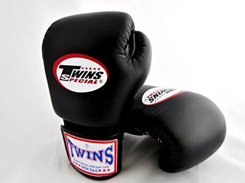 8 Unzen Leder (8-10-12-14-16 oz. Schwarz Black Twins Special Muay Thai Profi Leder Boxhandschuhe (BGVL-3) (14 Unzen))