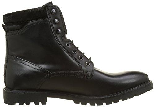 Base London Herren York Combat Boots Noir (Black Waxy)