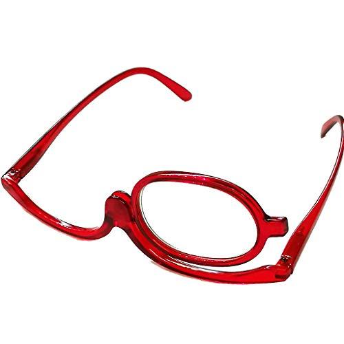 Schöne modische Schminkbrille Damen Frauen für 1 Auge Schminken in drei Farben mit Federscharnier (Rot, 2.0)
