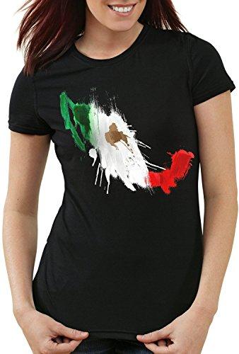 CottonCloud Flagge Mexiko Damen T-Shirt Fußball Sport Mexico WM EM Fahne, Farbe:Schwarz, Größe:M