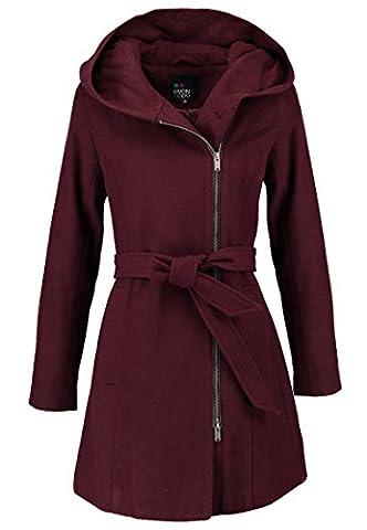 Even&Odd Wollmantel für Damen in Rot - Wintermantel mit Kapuze, XS