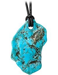 Kaltner Präsente Idée Cadeau - Collier en Cuir pour Hommes et Femmes avec  de forme libre en turquoise naturelle précieuse… 14a67d1ca021