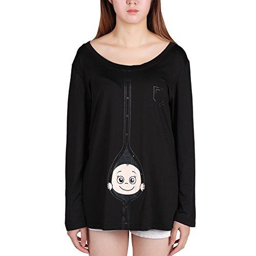 Chouette Femme Tops Manches Longues Enfant Imprimé T-shirt Maternité Blouse Grand Taille Veste Grossesse Noir