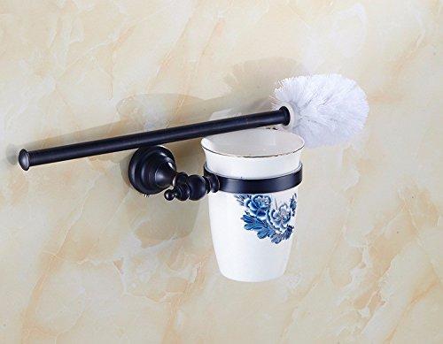 THWS Europäische Retro Badezimmer Zubehör Schwarz Bronze HANDTUCHHALTER WC-Bürste Soap Box Regal Haken Kit, WC-Bürste (Badezimmer-zubehör-kit-bronze)