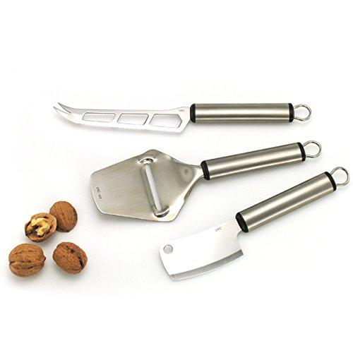 FranquiHOgar Juego de Cuchillos de Queso GRAF, 3 Piezas - Acero INOX: Pala, Machete y Cuchillo de Queso