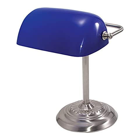 Traditional Incandescent Banker's Lamp, Blue Glass Shade, Chrome Base, 14 Inches, Sold as 1 Each