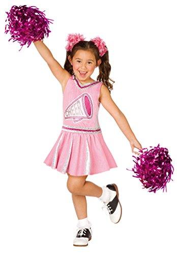 heerleader Kostüm Kinder Mädchen-Kostüm Karneval Fasching Kleid rosa-pink-weiß inkl. Pompons Größe 128-140 (Cheerleader Kinder Kostüm)