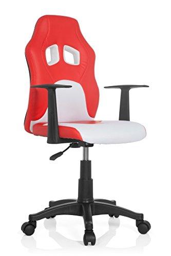 hjh OFFICE 670760 chaise de bureau enfant gaming, siège pivotant junior gamer TEEN RACER AL rouge/blanc en simili cuir - tissu, siège pivotant avec accoudoirs, confortable grâce à un rembourrage épais, piètement robuste et stable