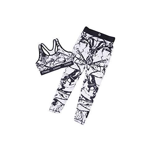 DOTBUY Bekleidung Yoga Set, Komfort Damen Sport BH Jogginghose Sport Leggings Yoga Hose Trainingshose Sport Bustier ohne Bügel Yoga Fitness Training (L, Weiß)