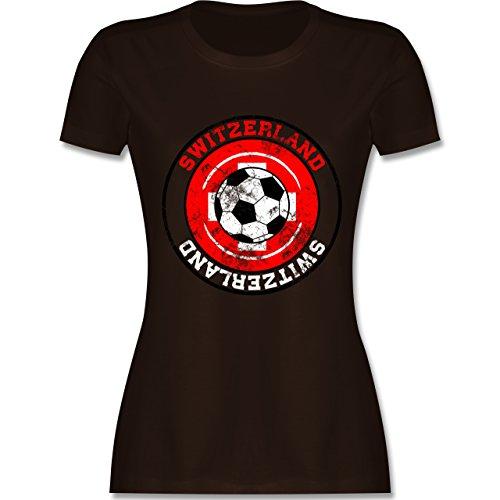 EM 2016 - Frankreich - Switzerland Kreis & Fußball Vintage - tailliertes Premium T-Shirt mit Rundhalsausschnitt für Damen Braun