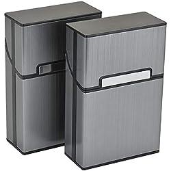 Linkbro 2 PCS Cigarettes en Aluminium étuis Cigarette Femme en Aluminium Etui Paquet Cigarette Paquet de Cigarettes Fermeture Aimantée (Gris)