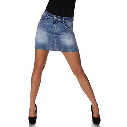 4544 Fashion4Young Damen Jeansskirt Jeansrock Minirock knielanger Rock Jeans Blau 5 Größen (XL=42, Dunkelblau)