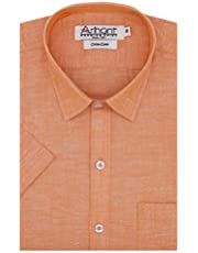 Arihant Men's Plain Cotton Linen Half Sleeves Regular Fit Fo