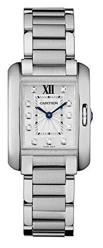 Cartier serbatoio Anglaise orologio da uomo in acciaio INOX con diamanti W4TA0003