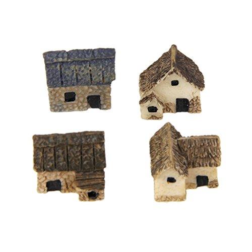 4pcs Maison de Chaume Miniature Décoration pour Micro...