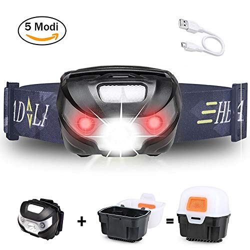 Stirnlampe LED Wasserdicht, 5 Modi Outdoor Joggen Stirnlampe USB Aufladbar Kopflampe Wasserdicht Camping Lampe Beleuchtung für Nachtlese, Abenteuer, Bergsteigen, Klettern Inklusive USB Kabel von ERUW