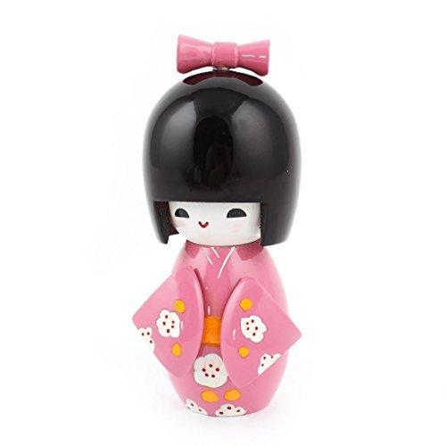 DealMux La Flor de Madera impresión del japonés Kimono muñeca de Kokeshi del Ornamento Rosado Negro