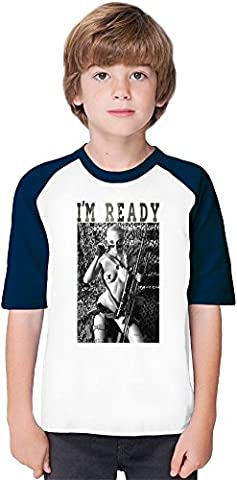 I'm Ready For Fight Soft Material Baseball Kids T-Shirt by Benito Clothing - 100% Organic, Hypoallergenic Cotton- Casual & Sports Wear - Unisex for Boys and Girls 12-14