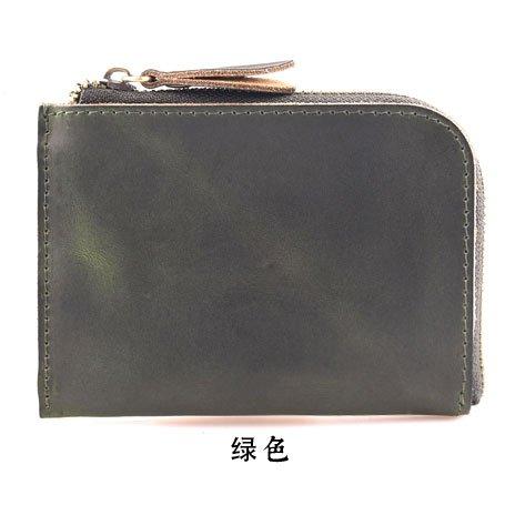 Handgefertigte Leder Geldbörse, MINI ZIP Herren Geldbörse, Tasche Damen, Vintage Leder, Bordeaux Green