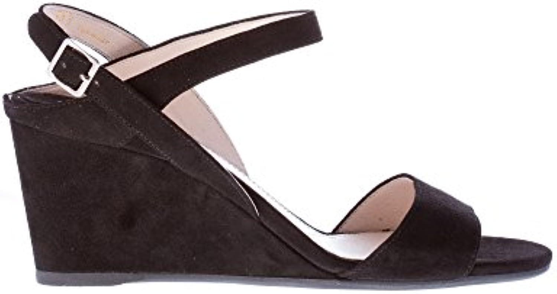 1bac263a89 Prada Sandalo Zeppa in camoscio Nero con Cinturino alla Caviglia. Caviglia.  Caviglia. Tacco 8 cm. | Più pratico | Uomo/Donna Scarpa 27eea2
