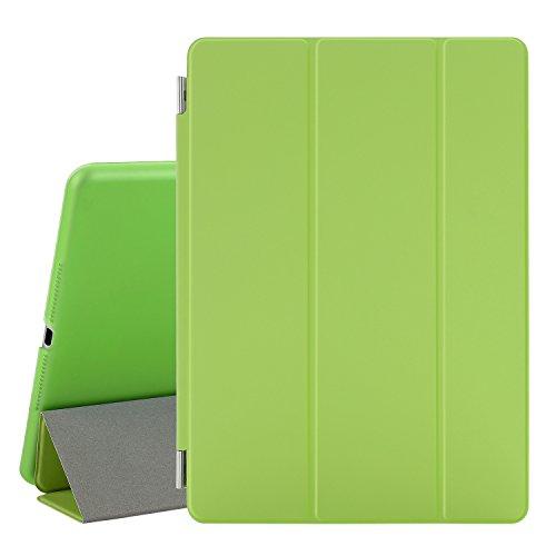 Besdata® iPad Air 2 Hülle - Ultra Dünn Edles Smart Cover Leder Case Schutz Hülle Tasche + Back Case für ipad air 2 ipad 6 - inkl. Displayschutzfolie Reinigungstuch Stift mit Multi Ständer Auto Sleep Wake (Grün, iPad Air 2)