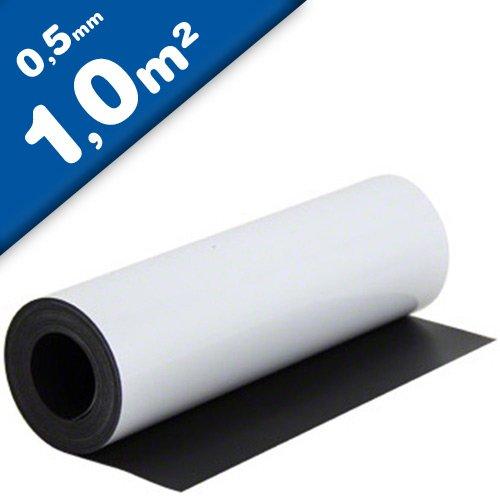 Magnetfolie weiß matt beschichtet 0,5mm x 1m x 1m - Meterware - flexible magnetische Folie, in Digitaldruck bedruckbar, haftet auf allen metallischen Oberflächen
