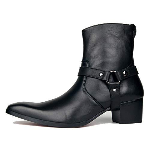 FLYSXP Botas De Hombre De Gran Tamaño con Personalidad Europea Y Americana En El Tubo Botas De Vaquero Moda Marea De Hombre Hebilla De Tacón Alto Botas De Cuero Negro Botas de Cuero de los Hombres