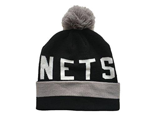 Mitchell & Ness NBA BROOKLYN NETS Pom Yard Adult's Beanie Hat (EU350) (Black) (One Size)