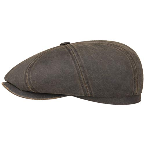 Cotton Schildmütze Damen/Herren | Oilskinmütze Balloncap Newsboy Cap mit Schirm, Schirm Frühling-Sommer Herbst-Winter | XXL (62-63 cm) braun ()