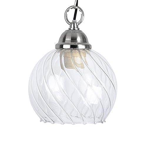 MiniSun Globe en Verre à Nervures Transparent pour Suspension ou comme globe de Remplacement pour une Lustre